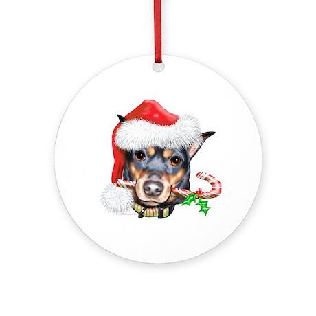 Min Pin Christmas Ornament (Round)