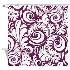 Alyssum and White Swirls Shower Curtain