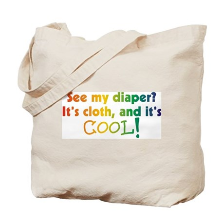 See my Diaper? It's cloth and Tote Bag