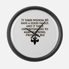 Proverbs 24:2 black and gold Large Wall Clock