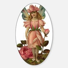 Victorian Flower Fairy Pink Rose Oval Decal