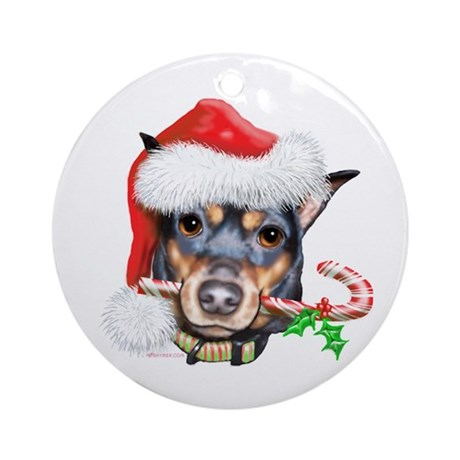 Min Pin Christmas Ornament (Round)