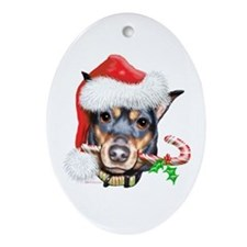 Min Pin Christmas Oval Ornament