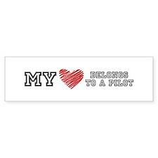 My Heart belongs to a pilot! Bumper Bumper Sticker