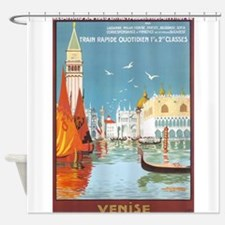 Venice,Gondola, Travel, Vintage Poster Shower Curt