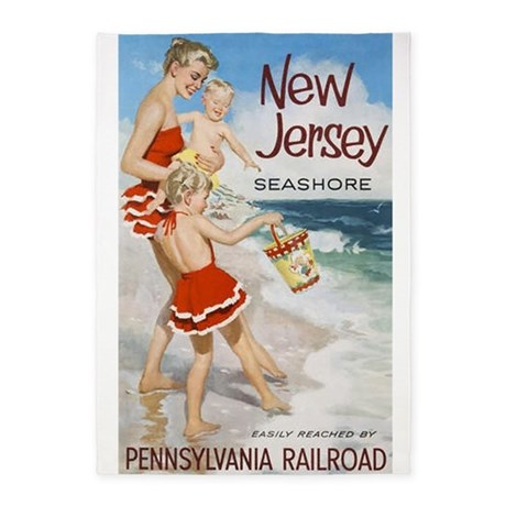 New Jersey Seashore, Travel, Vintage Poster 5'x7'A