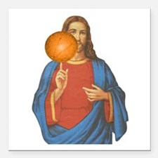 Jesus Christ Basketball Star Square Car Magnet 3""