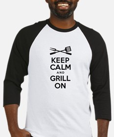 Keep Calm Grill On Baseball Jersey