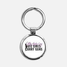 Big Girls Carry Guns Round Keychain