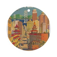 San Francisco, Travel, Vintage Poster Ornament (Ro