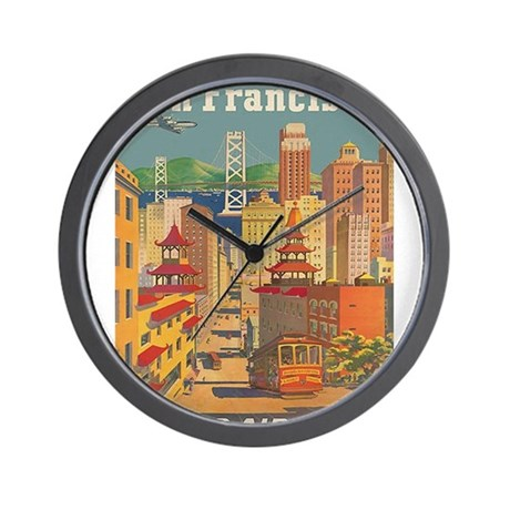 San Francisco, Travel, Vintage Poster Wall Clock