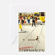 Copenhagen, Ducks, Travel, Vintage Poster Greeting