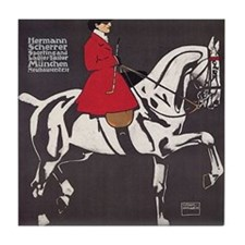 A Horse and Rider, Vintage Poster Tile Coaster
