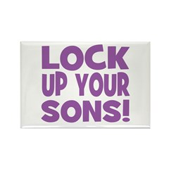 Lock Up Your Sons! Purple Rectangle Magnet