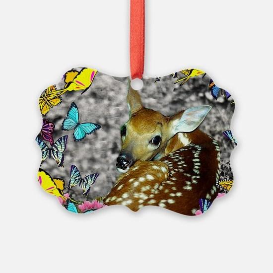 Bambina Fawn Butterflies Ornament
