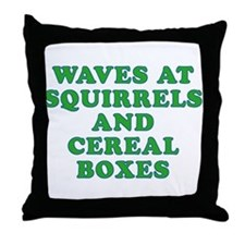 Waves at Squirrels and Cereal Boxes Throw Pillow