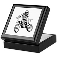 Playing in the dirt with a motorbike Keepsake Box