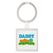 Daddy Extraordinaire Square Keychain