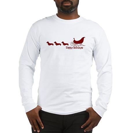 """W. Dachshund """"Sleigh"""" Long Sleeve T-Shirt"""