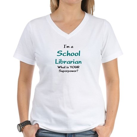 school librarian Women's V-Neck T-Shirt
