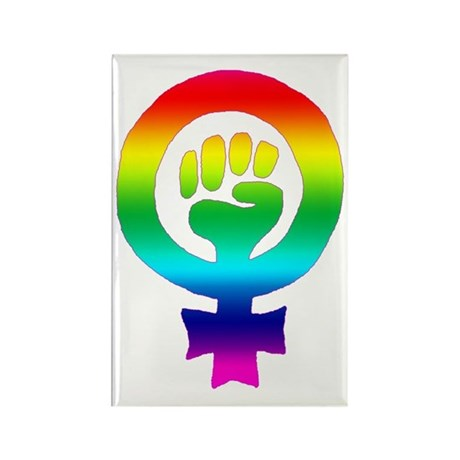 Rainbow Feminist Rectangle Magnet