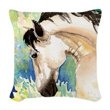 Spring Horse Woven Throw Pillow