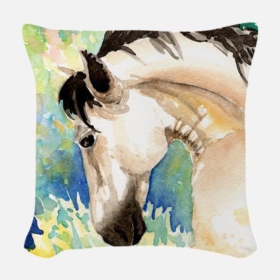 Spring Horse Woven Throw Pillow
