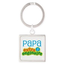 Papa Extraordinaire Square Keychain