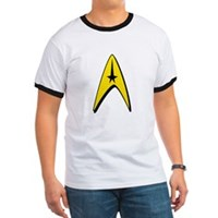 Star Trek Captain Badge Insignia Ringer T