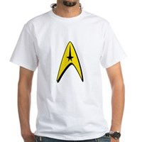 Star Trek Captain Badge Insignia White T-Shirt