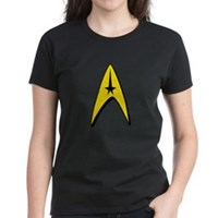 Star Trek Captain Badge Insignia Women's Dark T-Sh