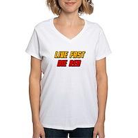 Live Fast Die Red Women's V-Neck T-Shirt