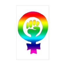 Rainbow Feminist Rectangle Decal