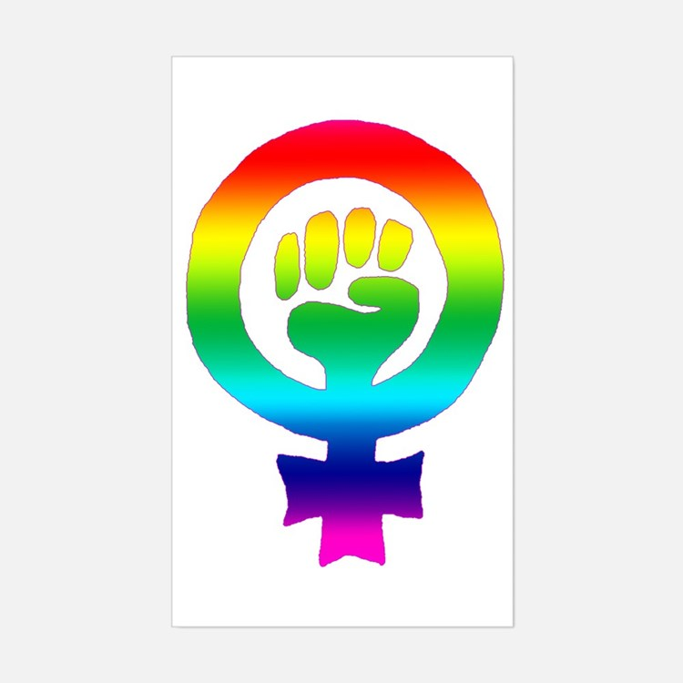Rainbow Feminist Rectangle Decal