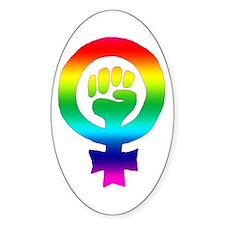 Rainbow Feminist Oval Decal