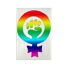 Rainbow Feminist Rectangle Magnet (100 pack)