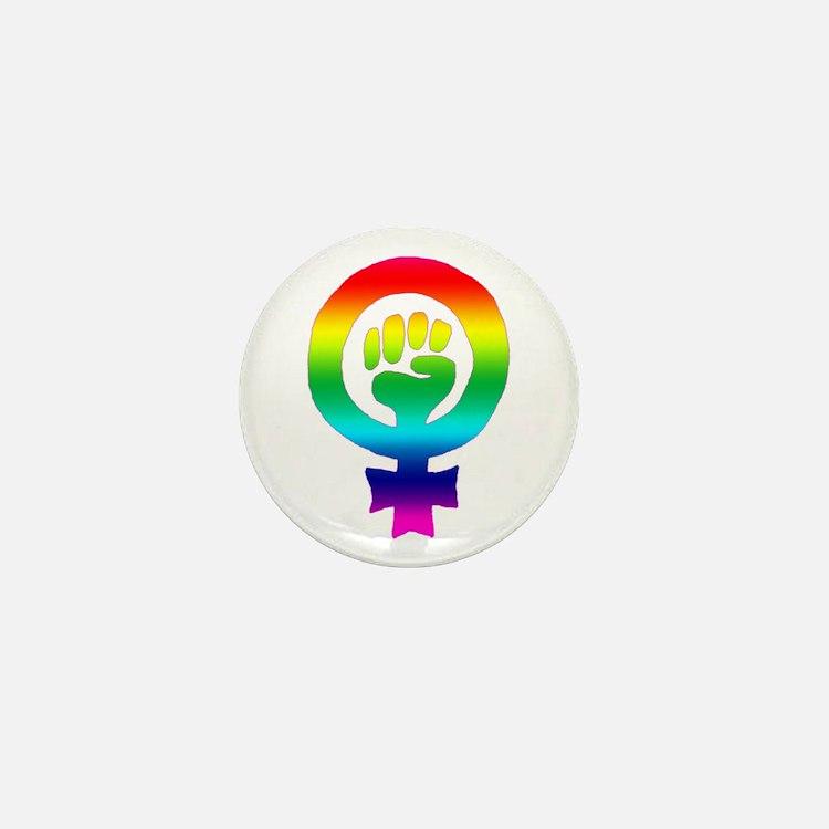 Rainbow Feminist Mini Button