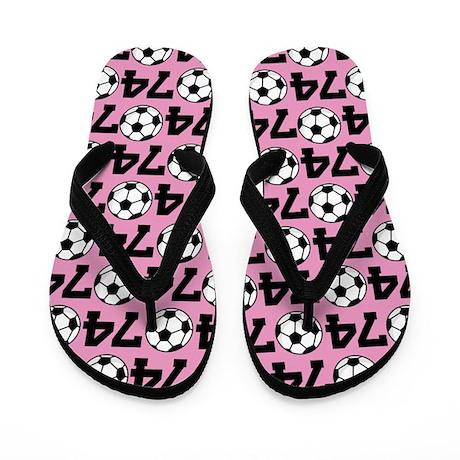 Soccer Ball Player Number 74 Flip Flops