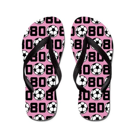Soccer Ball Player Number 80 Flip Flops