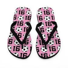 Soccer Ball Player Number 91 Flip Flops