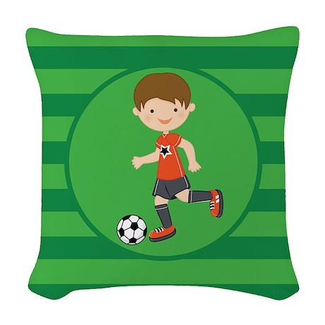 Soccer Boy Woven Throw Pillow