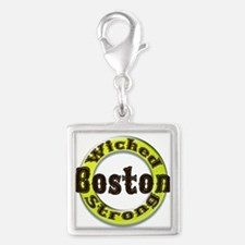 WS Bruins Classic Silver Square Charm