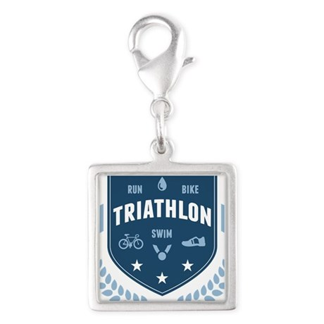 Triathlon Silver Square Charm