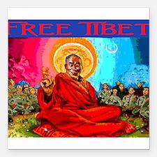 "FREE TIBET Square Car Magnet 3"" x 3"""