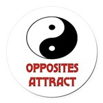 OPPOSITES ATTRACT Round Car Magnet