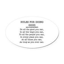 RULES FOR DOING GOOD Oval Car Magnet
