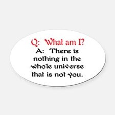 WHAT AM I? Oval Car Magnet