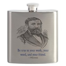 "THOREAU ""TRUE TO"" QUOTE Flask"