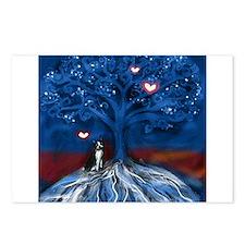 Boston Terrier love night glowing hearts tree Post