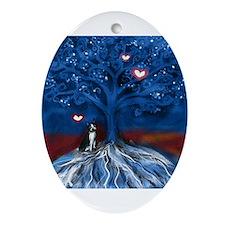 Boston Terrier love night glowing hearts tree Orna